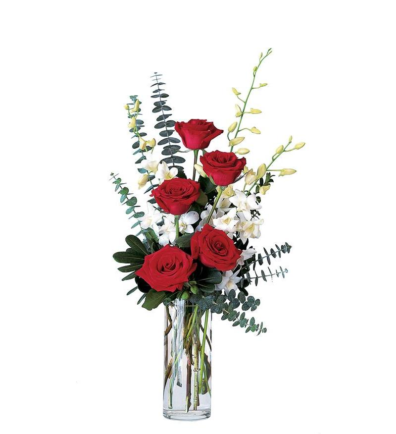 Red roses and white orchid artistic flowers and home decor red roses and white orchid mightylinksfo