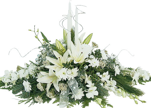 White christmas centerpiece artistic flowers and home decor